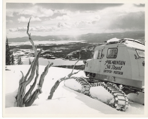 The Tucker Sno-Cat, purchased in 1959 for $8,000 was used to take skiers to the summit at Whitefish Mountain Resort prior to the installation of Chair 1. It cost $4.50 for a ride inside, or a quarter to be towed behind. Photo: Marion Lacy