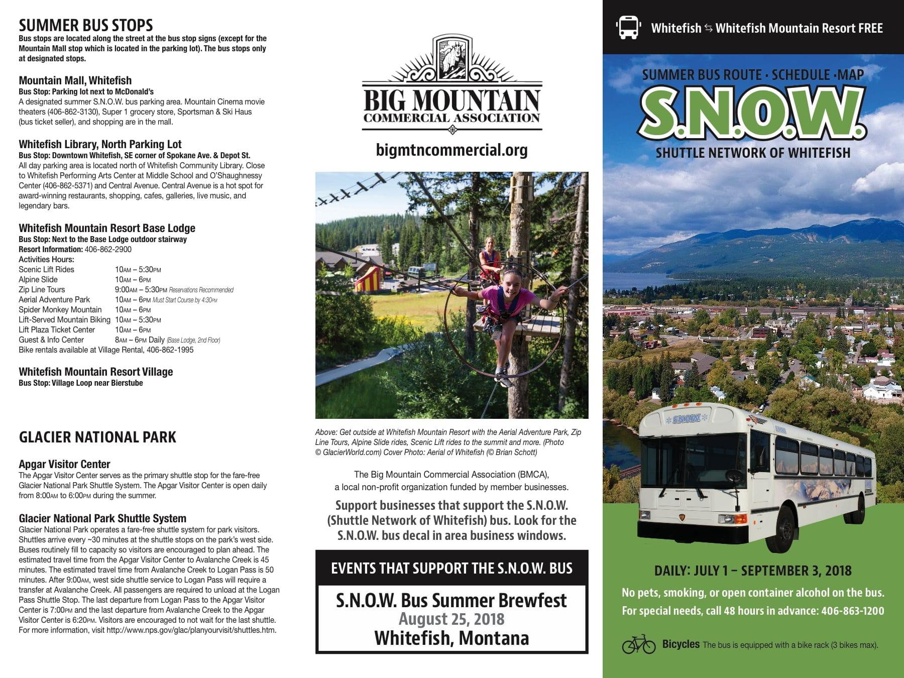 2018 S.N.O.W. Bus SUMMER Schedule - Page 1