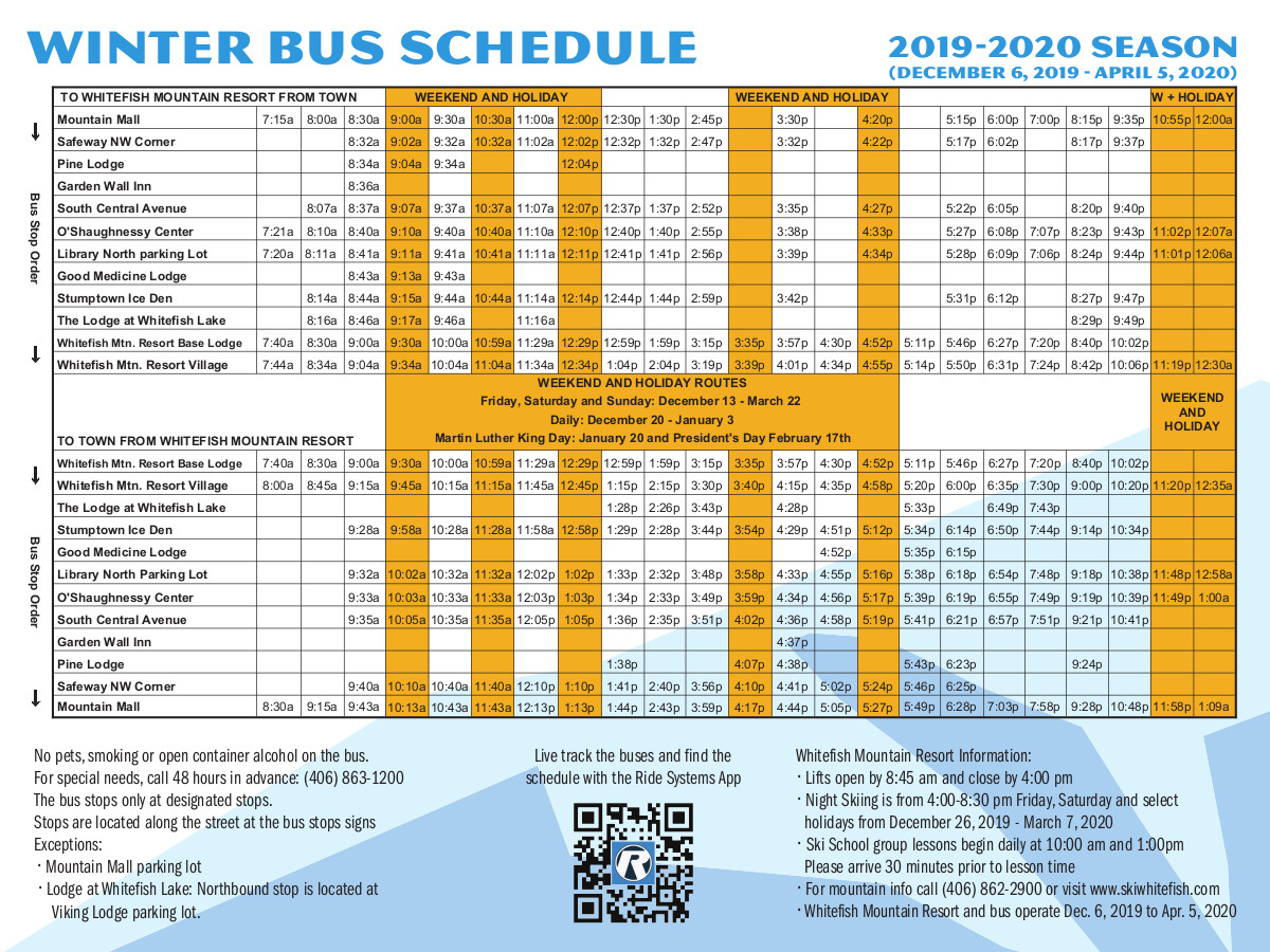 SNOW Bus Schedule