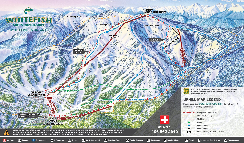 Whitefish Mountain Resort Uphill Map