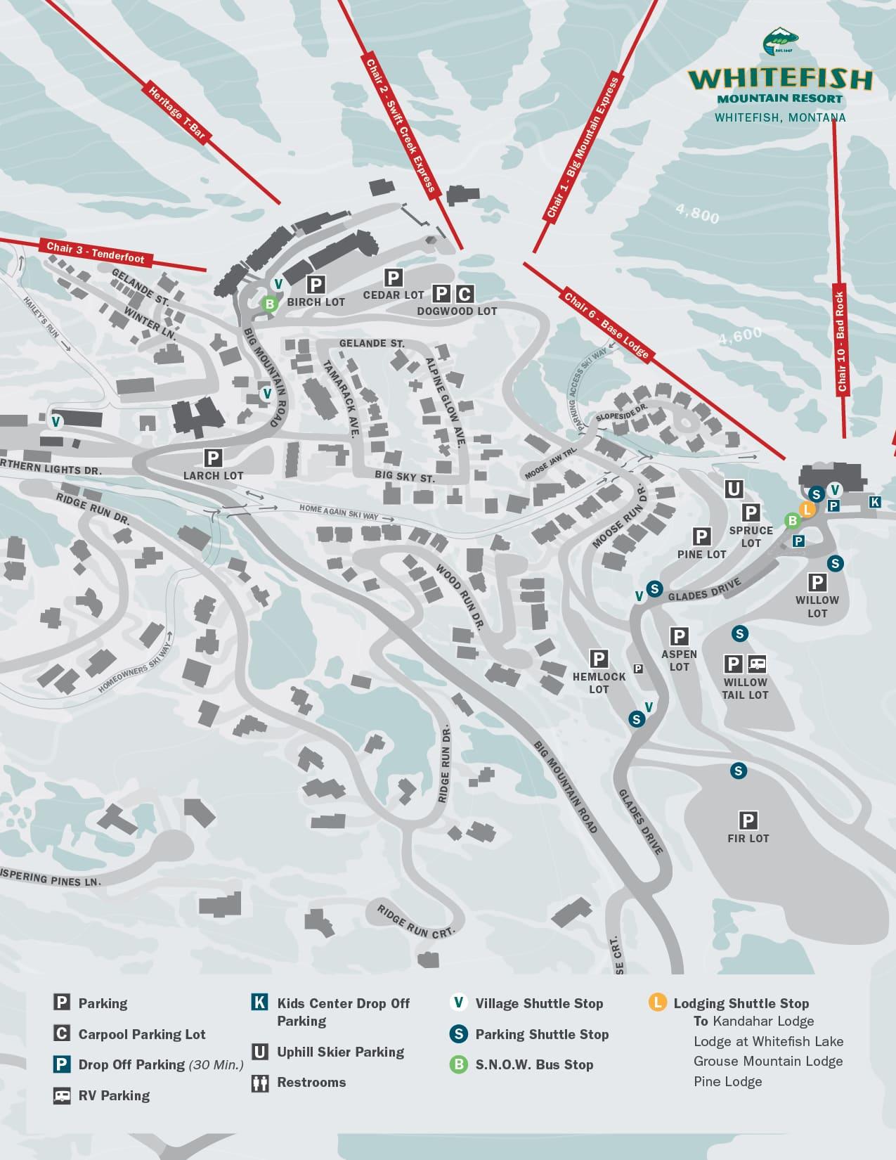 Parking Shuttle Map 2021